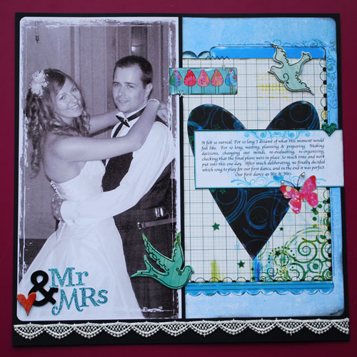 39Mr Mrs 39 A Wedding Day Scrapbook Layout by Lesley Oman on 11 July 2009